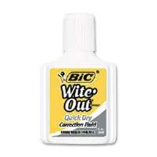 Bic America WOFQD12 WHI Wite-Out Quick Dry Correction Fluid, 20 Ml Bottle, White