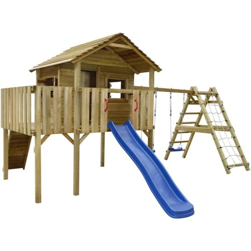 vidaXL Playhouse with Climbing Net, Slide, Swings 560x440x294 cm Wood