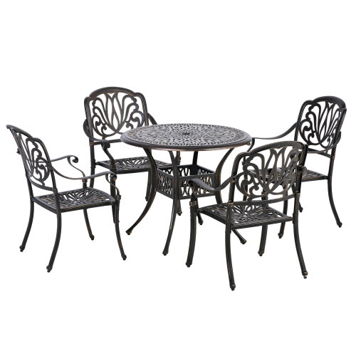 Outsunny 5PCs Garden Dining Conversation Set 4 Chairs Table Umbrella Hole