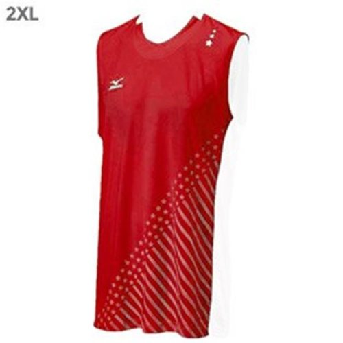 Mizuno 440391.1000.08. Drylite Mediumens National VI Sleeveless Jersey, Red & White - 2XL