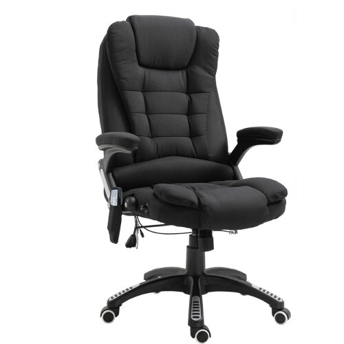 Vinsetto 130° Reclining Chair w/Heating Massage Points Relaxing Headrest Black