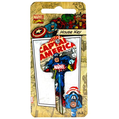 Marvel Originals Captain America Licensed Universal 6-Pin Cylinder Key Blank
