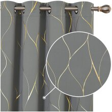 Deconovo Blackout Curtains, Eyelet Curtains, Gold Wave Foil Printed Thermal Insulated Curtains for Boys Bedroom, 46 x 72 Inch (Width x Length), Grey,