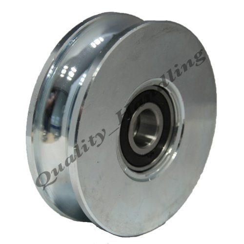 """100mm Gate wheel pulley wheel Round groove Double bearing 4"""""""