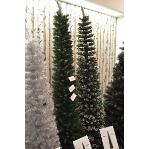 "220cm (7ft 3"") Premier Pencil Style Slim Flocked Christmas Tree in Green"
