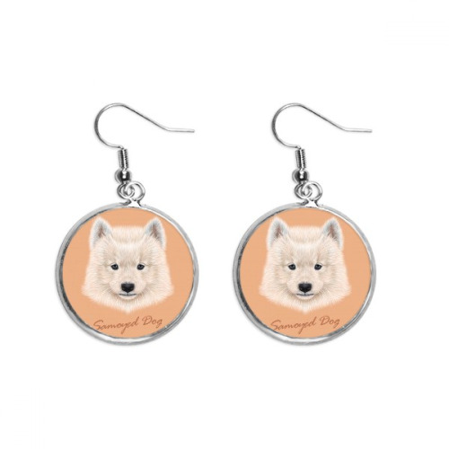 White Samoyed Dog Pet Animal Ear Dangle Silver Drop Earring Jewelry Woman