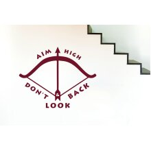 Aim High And Dont Look Back Wall Stickers Art Decals - Large (Height 57cm x Width 72cm) Burgundy