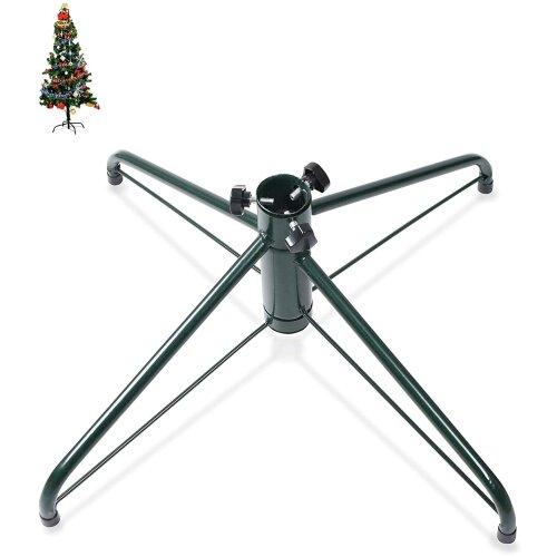 Ouvin 18 Inches Christmas Tree Stand 4 Foot Base Iron Metal Bracket Rubber Pad with Thumb Screw (45Green)