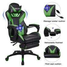 ELECWISH Gaming Chair Ergonomic Office Chair with Massager & Footrest