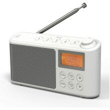 DAB/DAB+ & FM Radio, Mains and Battery Powered Portable DAB Radios Rechargeable Digital Radio with USB Charging for 15 Hours Playback (White