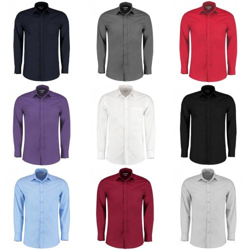 Kustom Kit Mens Long Sleeve Tailored Poplin Shirt