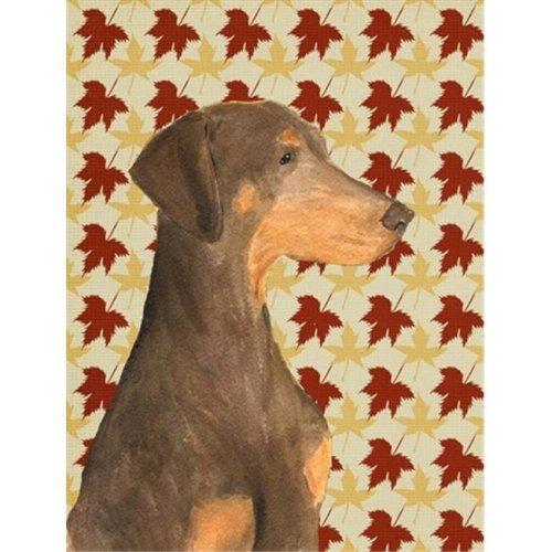 15 x 15 in. Doberman Fall Leaves Portrait Flag Garden Size