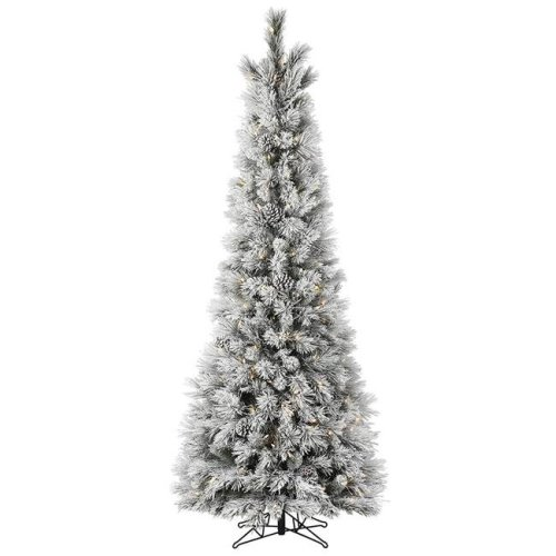 Vickerman G185861LED 6 ft. x 29 in. Flocked Ames Pine Pencil Artificial Christmas Tree with Pine Cones 200 Warm White Dura-Lit LED Mini Light