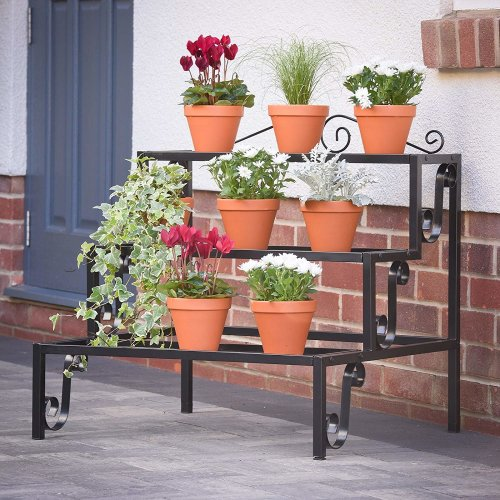 Plant Theatre Plant Terrace - 3 Tier Metal Plant Stand in Black