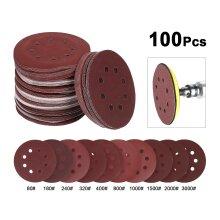 """100x125mm 5"""" Sanding Discs Pads 80-3000 Mix Grit 8 Hole Sandpaper"""