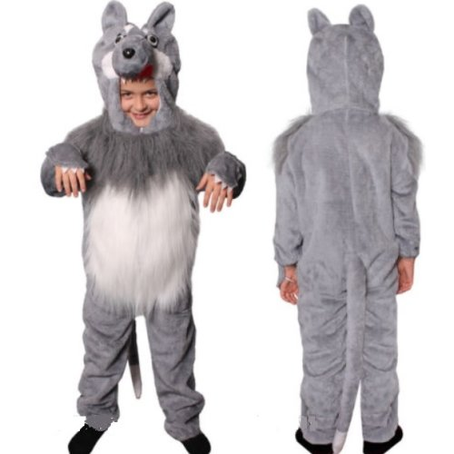 (S) WOLF COSTUME ANIMAL FANCY DRESS BIG BAD SUIT BOOK