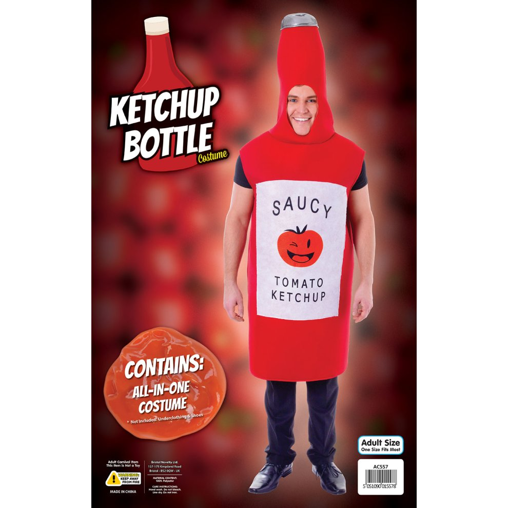 Adult Mens Ladies Funny Ketchup Tomato Sauce Food Drink Costume Outfit Halloween