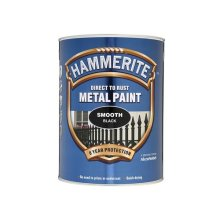 Hammerite SFB5L Direct to Rust Smooth Finish Metal Paint Black 5 Litre