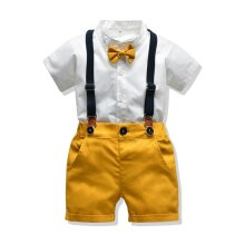 Baby Boy Clothes Set Summer Suit For Toddler White Shirt With Bow Tie Suspender Shorts Formal