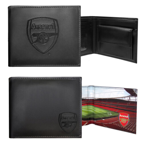 Arsenal FC Official Football Gift Embossed Crest Wallet Black