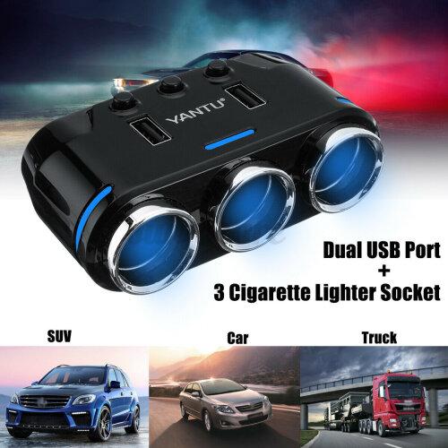 3 in 1 Cigarette Lighter Socket Splitter 12V Dual USB Charger Power Adapter Car