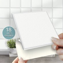 """18 WHITE Solid Stick On Self Adhesive Wall Tile Stickers 4"""" x 4"""""""