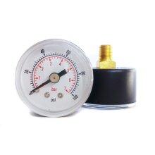 Pressure Gauge 40mm Dial 0/100 PSI & 0/7 Bar 1/8 BSPT Back Connection