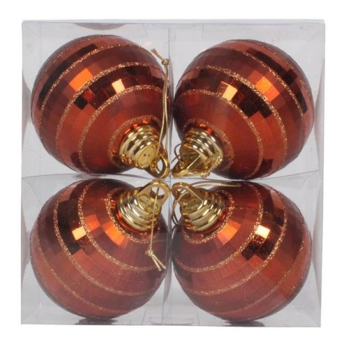 Vickerman M151488 4 in. Copper Plastic Shiny & Matte Mirror Ball Ornament with Matching Glitter, 4 per Box - Pack of 18
