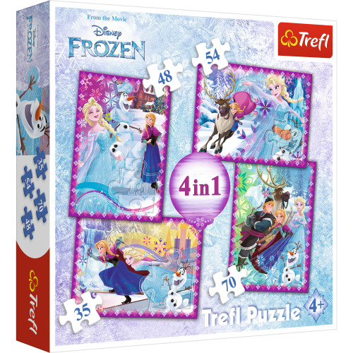 Trefl Jigsaw Puzzle Floor Childrens Kids Educational Toy Activity Learning Game 4 in 1 Disney Frozen Winter Frenzy
