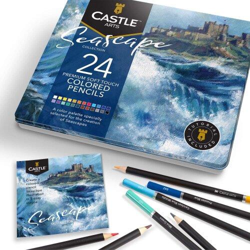 Castle Arts Seascapes Themed 24 Piece Coloured Pencil Set in Tin Box