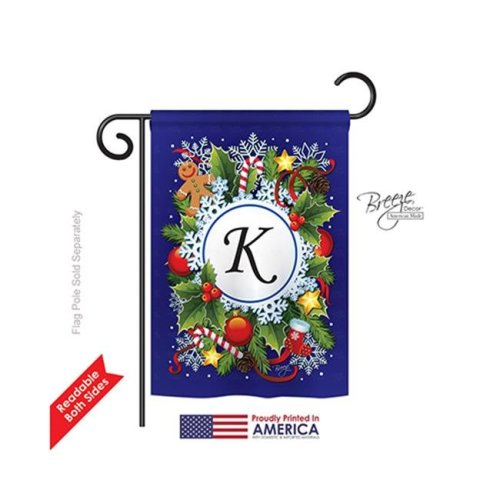 Breeze Decor 80089 Winter K Monogram 2-Sided Impression Garden Flag - 13 x 18.5 in.