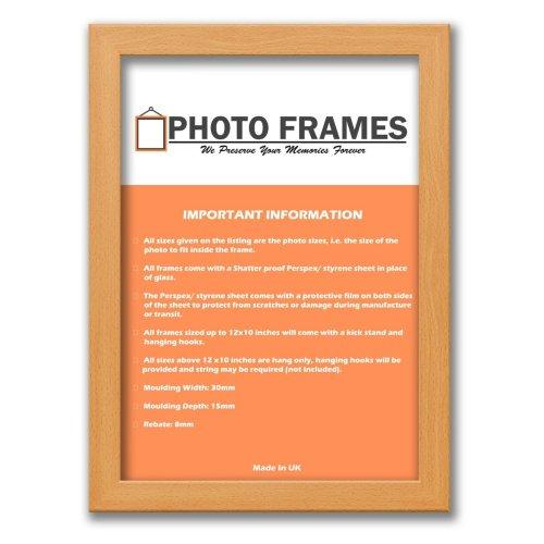 (Beech, A6- 148x105mm) Picture Photo Frames Flat Wooden Effect Photo Frames