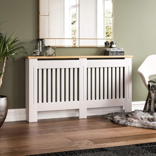 (Large Radiator Cover 152*19*81CM(White body with Wood Top)) Modern Chelsea Radiator Covers MDF Board Radiator Cabinet