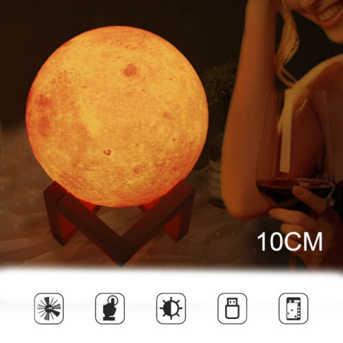 16 Colour Moon Lamp Dimmable LED 3D Night Light USB Recharge & Remote