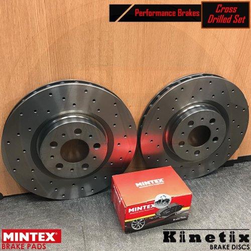 FOR PORSCHE CAYENNE REAR VENTED 330mm KINETIX DRILLED BRAKE DISCS MINTEX PADS