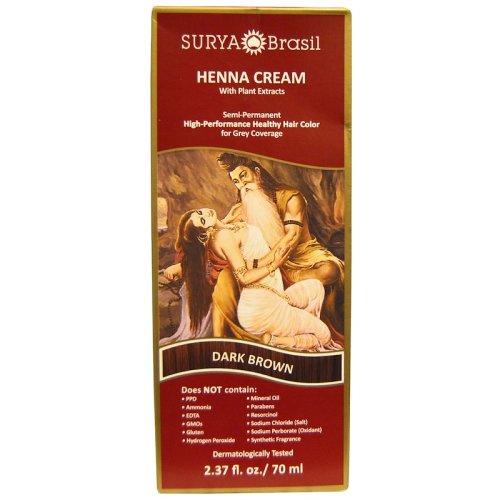 Surya Brasil, Henna Cream, Hair Color for Grey Coverage, Dark Brown