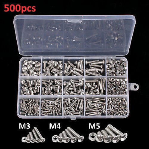 500X M3 M4 M5 Stainless Steel Hex Screws & Socket Bolts and Nuts