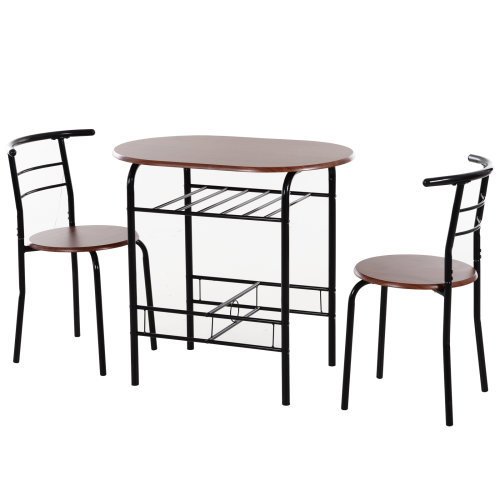 HOMCOM 3-Piece Metal, Wood Bar Table Set 2 Stools Dining Room W/ Storage Shelf