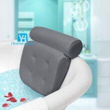 Luxury Bath Spa Pillow Suction Cups Spongy Relaxing Bathtub Cushion Grey