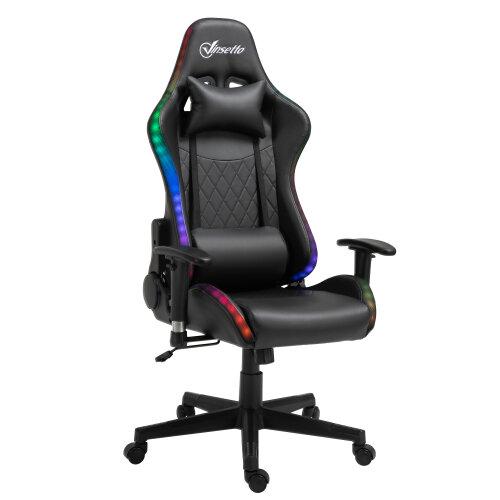 Vinsetto Gaming Chair w/ RGB LED Light, Arm, Swivel Office Gamer Recliner, Black