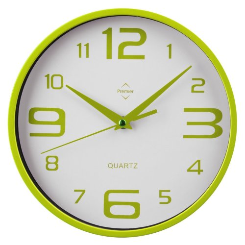 Contemporary Style Wall Clock, Plastic, Green