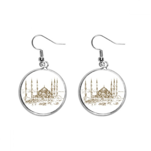 Church Landmark Sketch Landscape Ear Dangle Silver Drop Earring Jewelry Woman