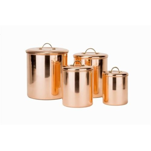 Polished Copper Canister Set with Brass knob, 4 Piece
