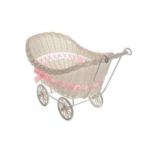 SAFRI Baby Pram Hamper Wicker Toy Basket with Handles and Wheels Great Gift for Boy & Girl Baby Showers or Newborn Baby Gifts (Pink)