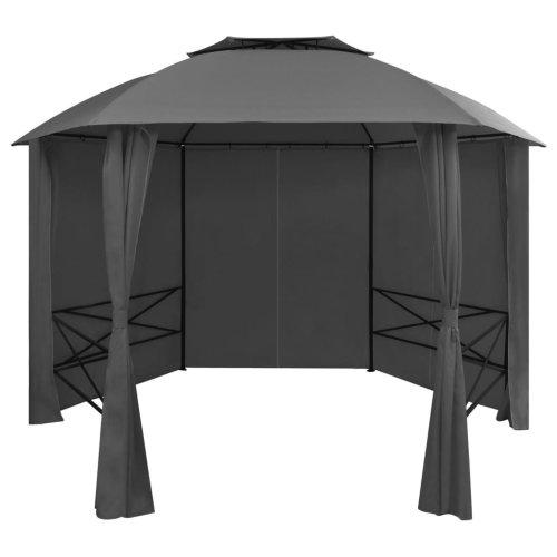 vidaXL Garden Marquee Pavilion Tent with Curtains Hexagonal 360x265 cm