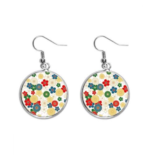 Flowers Ukiyo-e Repeat Japan Ear Dangle Silver Drop Earring Jewelry Woman