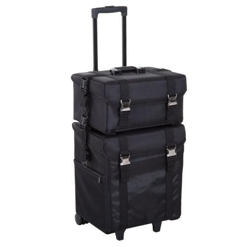 HOMCOM Beauty Trolley W/ Wheels Handle Make-up Bag SuitCase Cosmetic Box Black