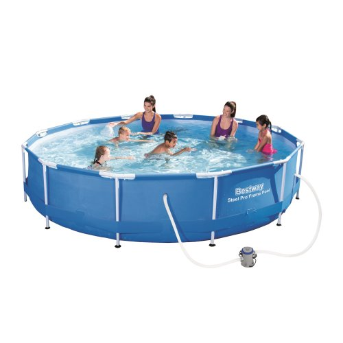 Inflatable Round Swimming Pool Pro Frame Set - 12 x 30 Steel - Blue - Bestway