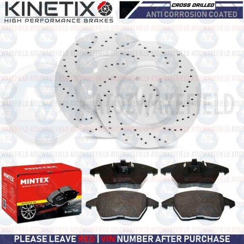 FOR AUDI S1 VW POLO GTI FRONT DRILLED PERFORMANCE BRAKE DISCS MINTEX PADS 310mm