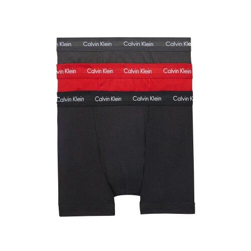 CALVIN KLEIN 3 PACK TRUNKS - COTTON STRETCH - BLACK/ VOID/ RED ALERT